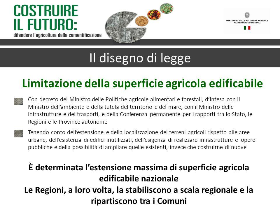 Limitazione della superficie agricola edificabile Il disegno di legge È determinata l'estensione massima di superficie agricola edificabile nazionale