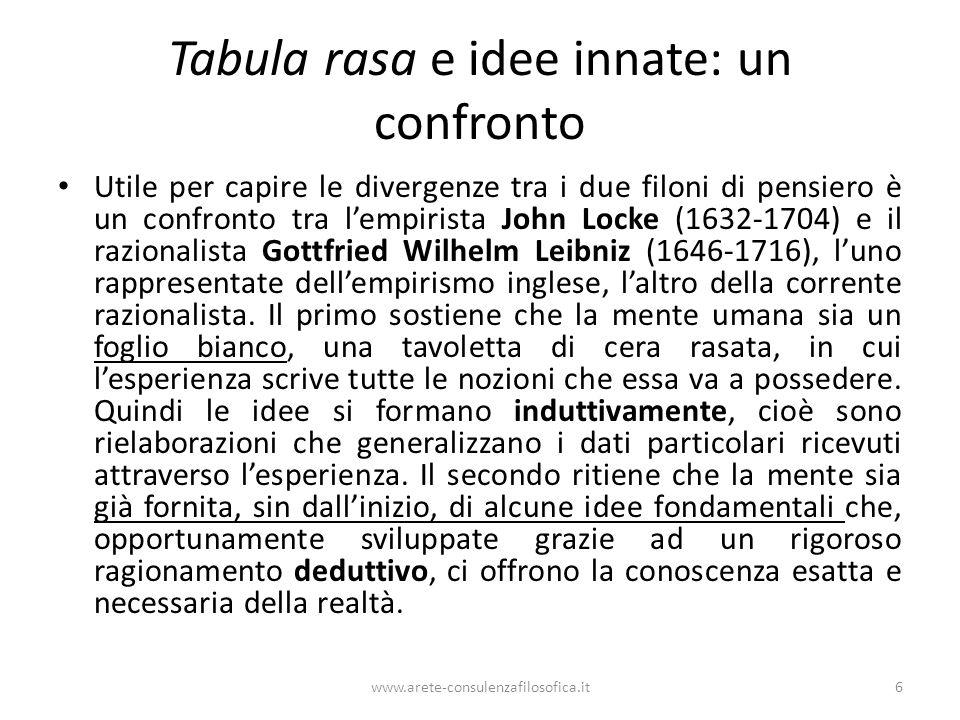 Tabula rasa e idee innate: un confronto Utile per capire le divergenze tra i due filoni di pensiero è un confronto tra l'empirista John Locke (1632-1704) e il razionalista Gottfried Wilhelm Leibniz (1646-1716), l'uno rappresentate dell'empirismo inglese, l'altro della corrente razionalista.