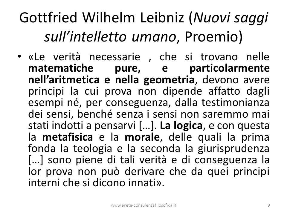 Gottfried Wilhelm Leibniz (Nuovi saggi sull'intelletto umano, Proemio) «Le verità necessarie, che si trovano nelle matematiche pure, e particolarmente
