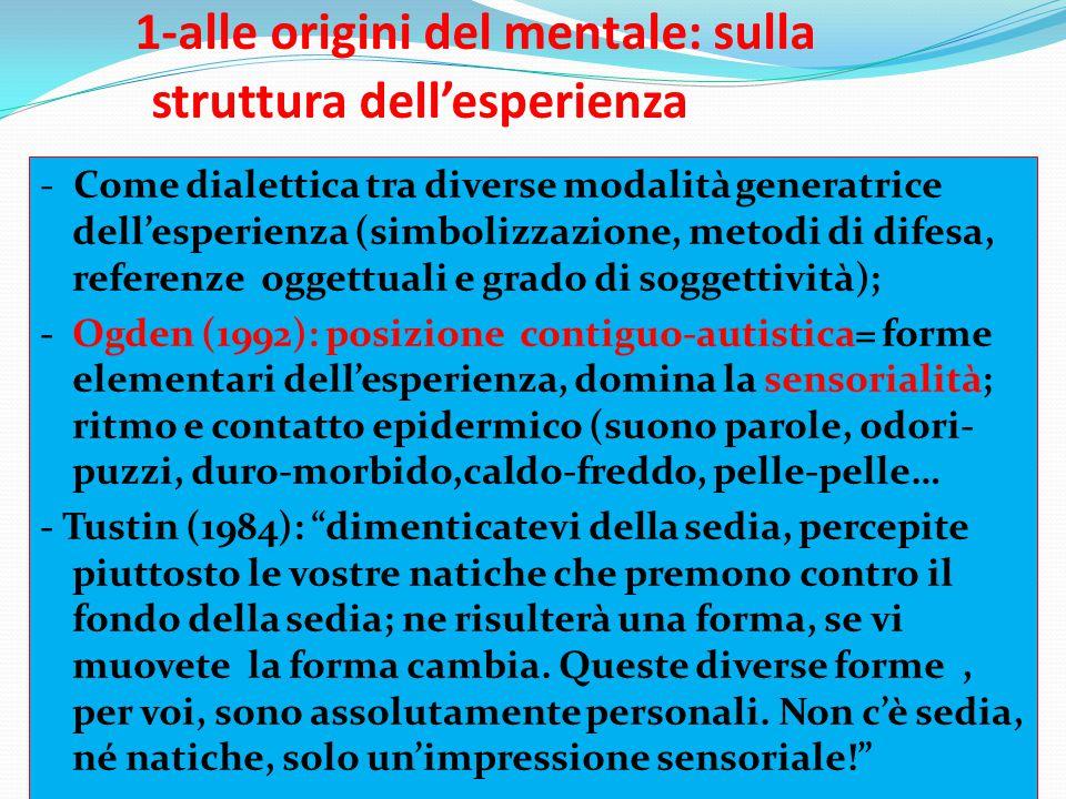 1-alle origini del mentale: sulla struttura dell'esperienza - Come dialettica tra diverse modalità generatrice dell'esperienza (simbolizzazione, metod