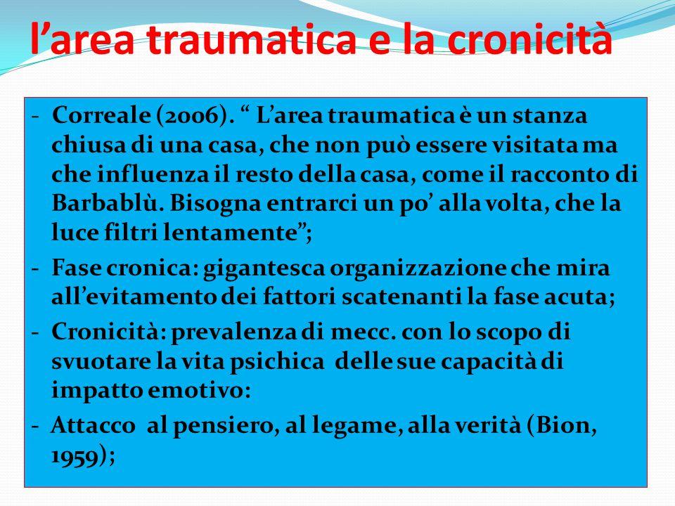 """l'area traumatica e la cronicità - Correale (2006). """" L'area traumatica è un stanza chiusa di una casa, che non può essere visitata ma che influenza i"""