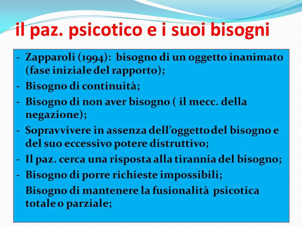 il paz. psicotico e i suoi bisogni - Zapparoli (1994): bisogno di un oggetto inanimato (fase iniziale del rapporto); - Bisogno di continuità; - Bisogn