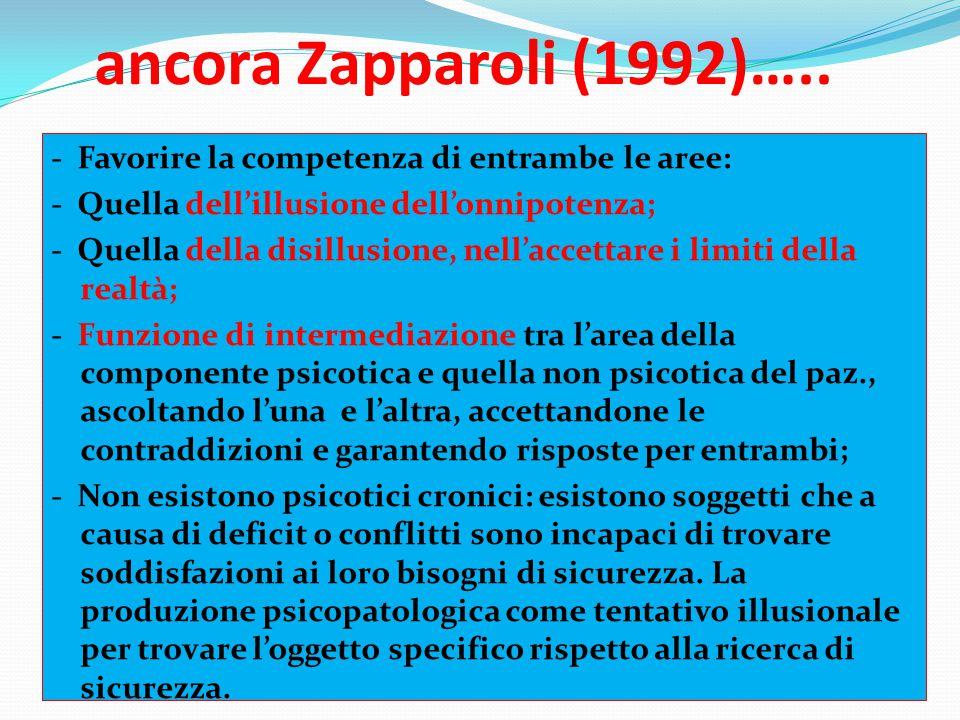 ancora Zapparoli (1992)….. - Favorire la competenza di entrambe le aree: - Quella dell'illusione dell'onnipotenza; - Quella della disillusione, nell'a
