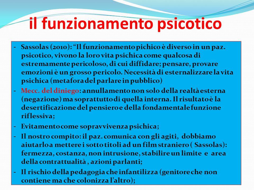 """il funzionamento psicotico - Sassolas (2010): """"Il funzionamento pichico è diverso in un paz. psicotico, vivono la loro vita psichica come qualcosa di"""