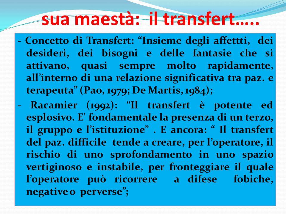 """sua maestà: il transfert….. - Concetto di Transfert: """"Insieme degli affettti, dei desideri, dei bisogni e delle fantasie che si attivano, quasi sempre"""