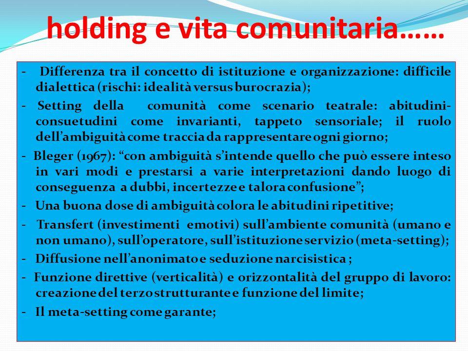 holding e vita comunitaria…… - Differenza tra il concetto di istituzione e organizzazione: difficile dialettica (rischi: idealità versus burocrazia);