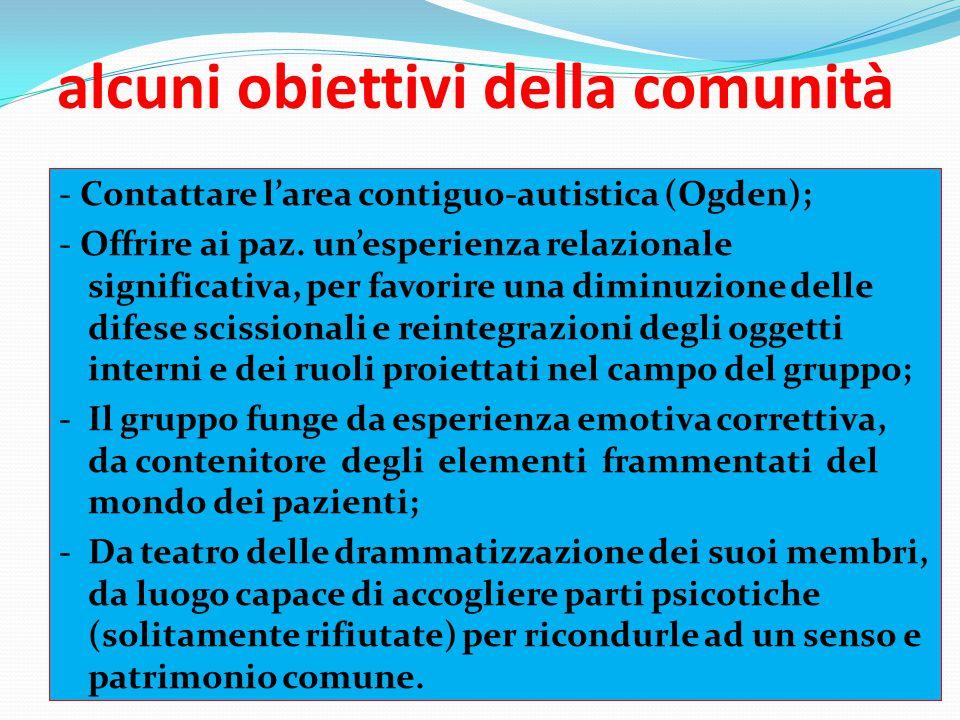 alcuni obiettivi della comunità - Contattare l'area contiguo-autistica (Ogden); - Offrire ai paz. un'esperienza relazionale significativa, per favorir