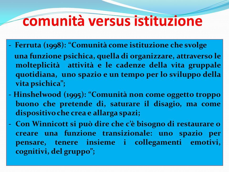 """comunità versus istituzione - Ferruta (1998): """"Comunità come istituzione che svolge una funzione psichica, quella di organizzare, attraverso le moltep"""