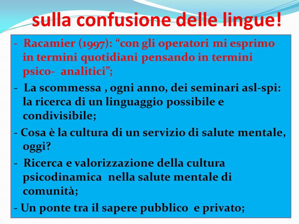 """sulla confusione delle lingue! - Racamier (1997): """"con gli operatori mi esprimo in termini quotidiani pensando in termini psico- analitici""""; - La scom"""