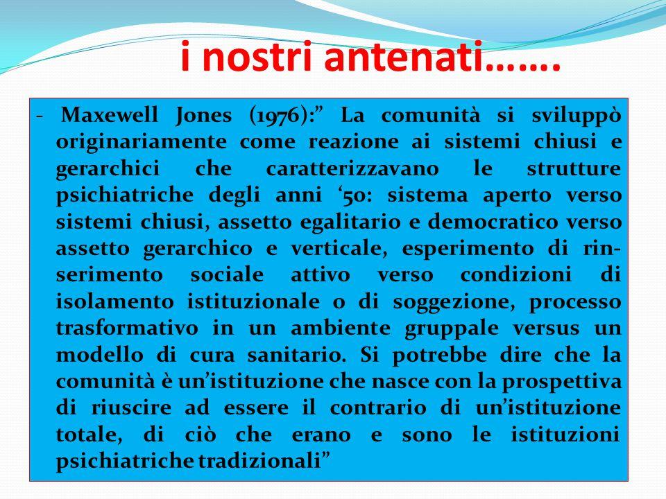 """i nostri antenati……. - Maxewell Jones (1976):"""" La comunità si sviluppò originariamente come reazione ai sistemi chiusi e gerarchici che caratterizzava"""