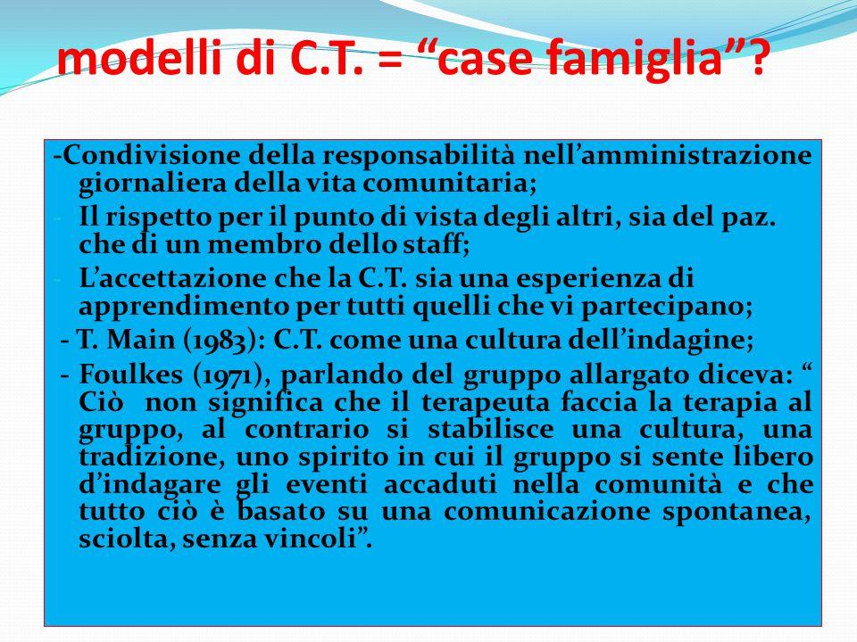 """modelli di C.T. = """"case famiglia""""? -Condivisione della responsabilità nell'amministrazione giornaliera della vita comunitaria; - Il rispetto per il pu"""