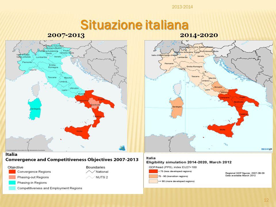 Situazione italiana 2007-20132014-2020 2013-2014 12