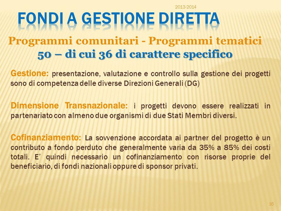 Programmi comunitari - Programmi tematici 50 – di cui 36 di carattere specifico Gestione: presentazione, valutazione e controllo sulla gestione dei pr