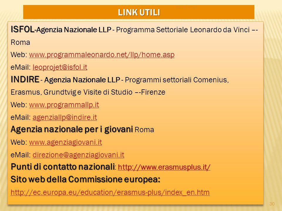 LINK UTILI ISFOL - INDIRE Agenzia nazionale per i giovani ISFOL -Agenzia Nazionale LLP - Programma Settoriale Leonardo da Vinci –- Roma Web: www.progr