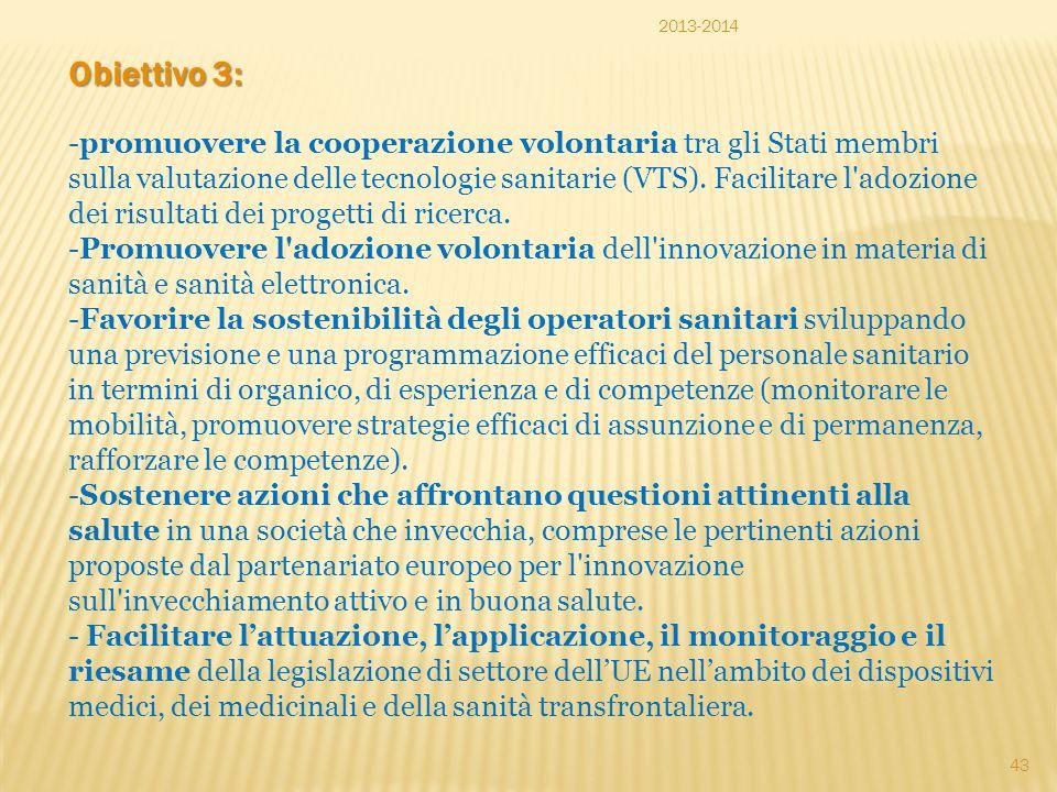 2013-2014 Obiettivo 3: -promuovere la cooperazione volontaria tra gli Stati membri sulla valutazione delle tecnologie sanitarie (VTS). Facilitare l'ad