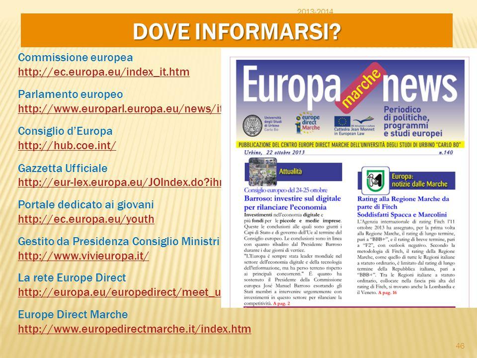 2013-2014 DOVE INFORMARSI? Commissione europea http://ec.europa.eu/index_it.htm Parlamento europeo http://www.europarl.europa.eu/news/it Consiglio d'E