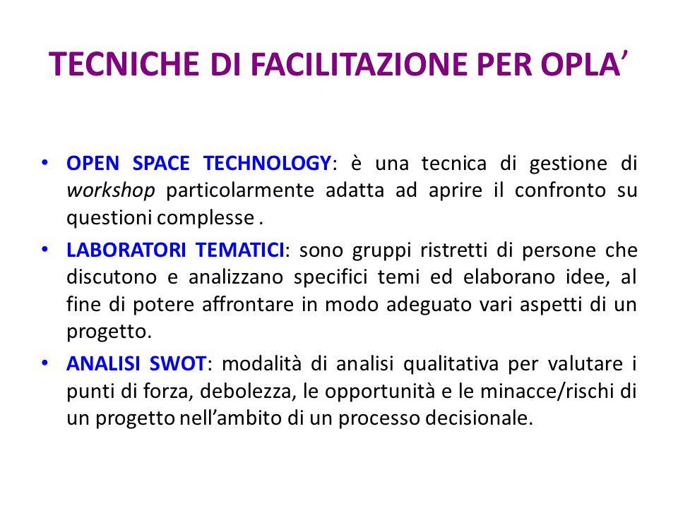 TECNICHE DI FACILITAZIONE PER OPLA ' OPEN SPACE TECHNOLOGY: è una tecnica di gestione di workshop particolarmente adatta ad aprire il confronto su que