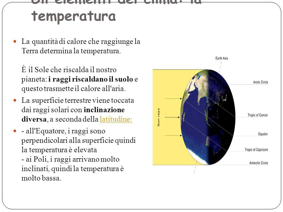 Gli elementi del clima: la temperatura Numero pagina: Messaggio: La quantità di calore che raggiunge la Terra determina la temperatura. È il Sole che