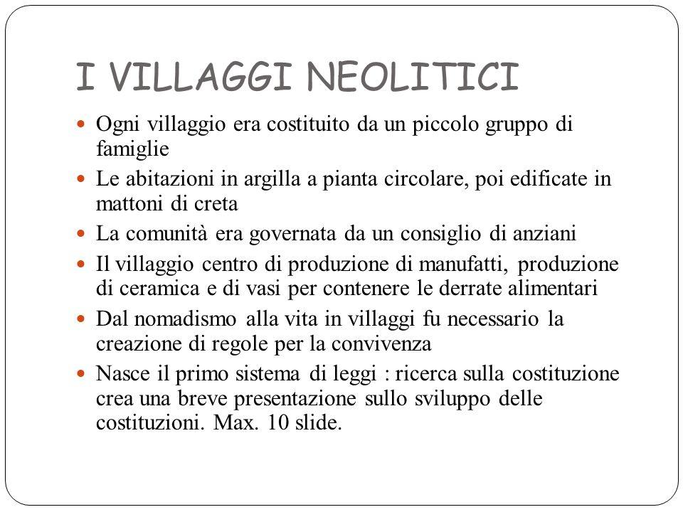 I VILLAGGI NEOLITICI Ogni villaggio era costituito da un piccolo gruppo di famiglie Le abitazioni in argilla a pianta circolare, poi edificate in matt