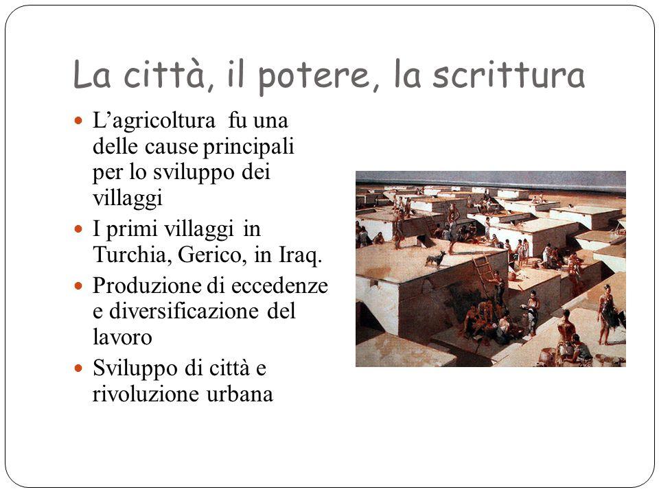 La città, il potere, la scrittura L'agricoltura fu una delle cause principali per lo sviluppo dei villaggi I primi villaggi in Turchia, Gerico, in Ira