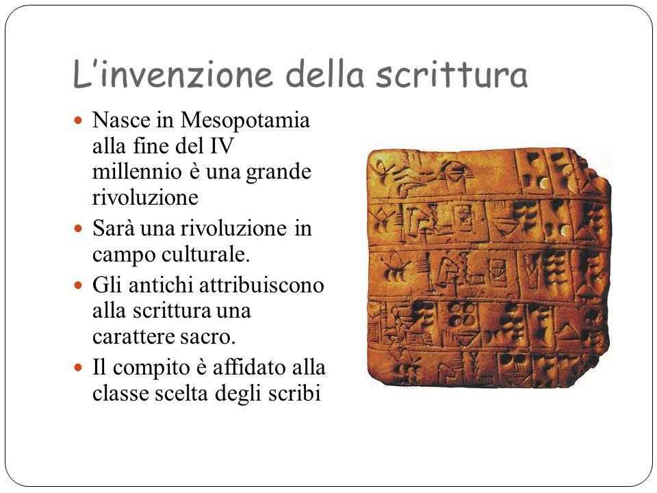 L'invenzione della scrittura Nasce in Mesopotamia alla fine del IV millennio è una grande rivoluzione Sarà una rivoluzione in campo culturale. Gli ant