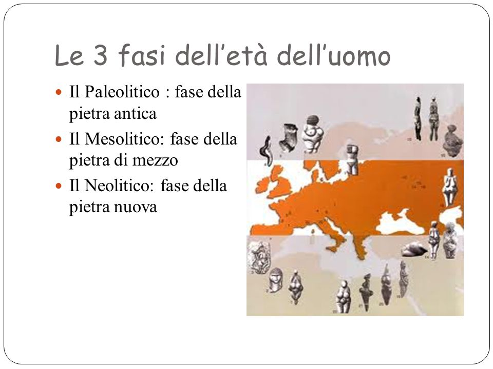 Le 3 fasi dell'età dell'uomo Il Paleolitico : fase della pietra antica Il Mesolitico: fase della pietra di mezzo Il Neolitico: fase della pietra nuova
