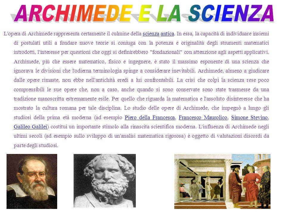 Archimede nasce a Siracusa nel 287 a.C. Egli si recò ad Alessandria d'Egitto dove conobbe alcune delle più grandi menti del tempo. Archimede ebbe modo