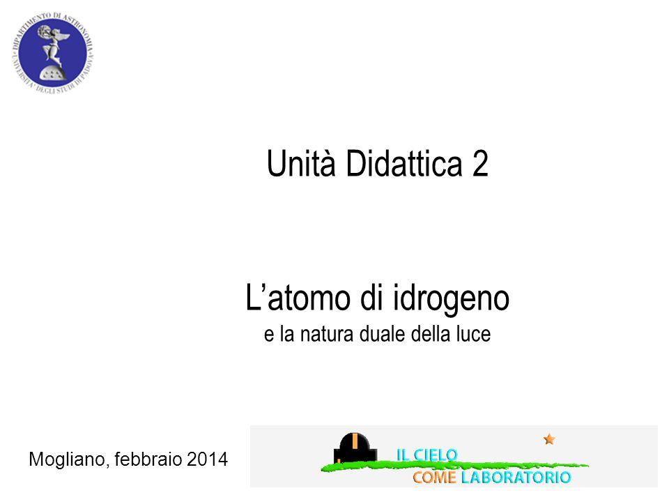 Unità Didattica 2 L'atomo di idrogeno e la natura duale della luce Mogliano, febbraio 2014