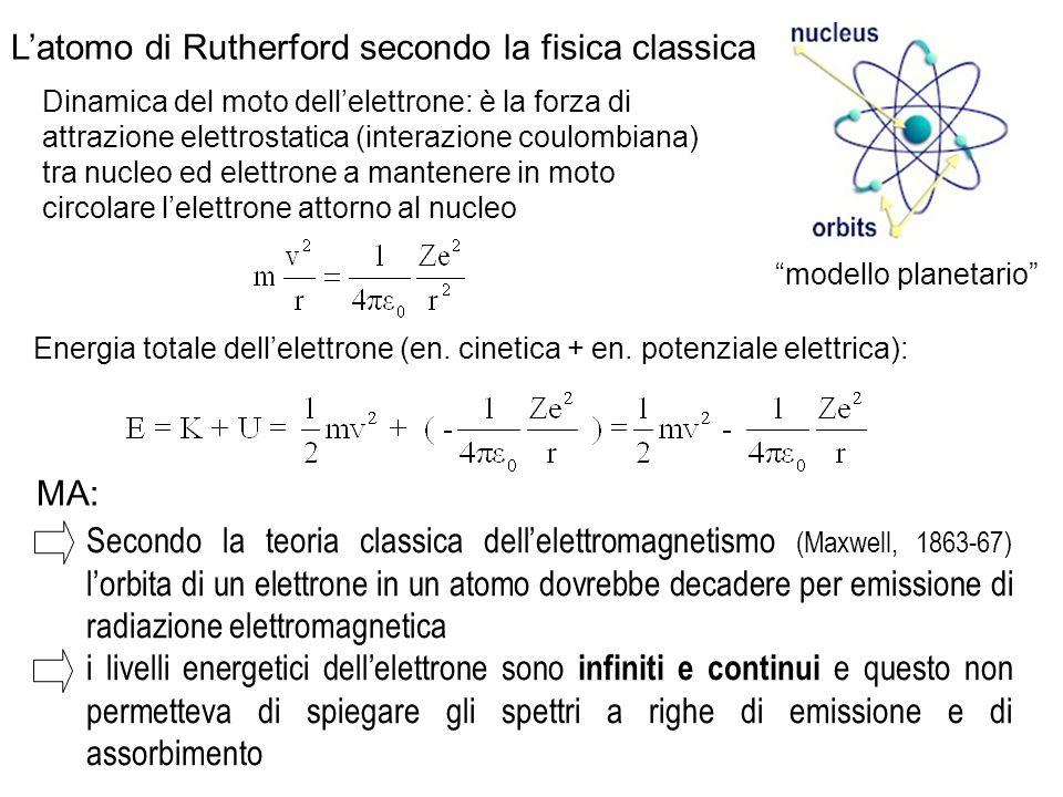 Dinamica del moto dell'elettrone: è la forza di attrazione elettrostatica (interazione coulombiana) tra nucleo ed elettrone a mantenere in moto circol