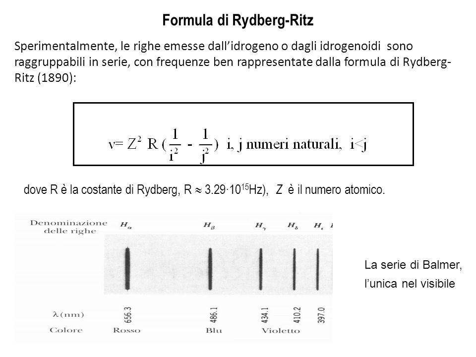 Formula di Rydberg-Ritz Sperimentalmente, le righe emesse dall'idrogeno o dagli idrogenoidi sono raggruppabili in serie, con frequenze ben rappresenta