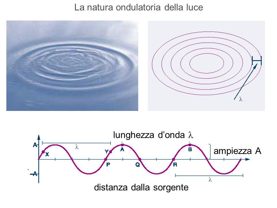 lunghezza d'onda ampiezza A distanza dalla sorgente La natura ondulatoria della luce