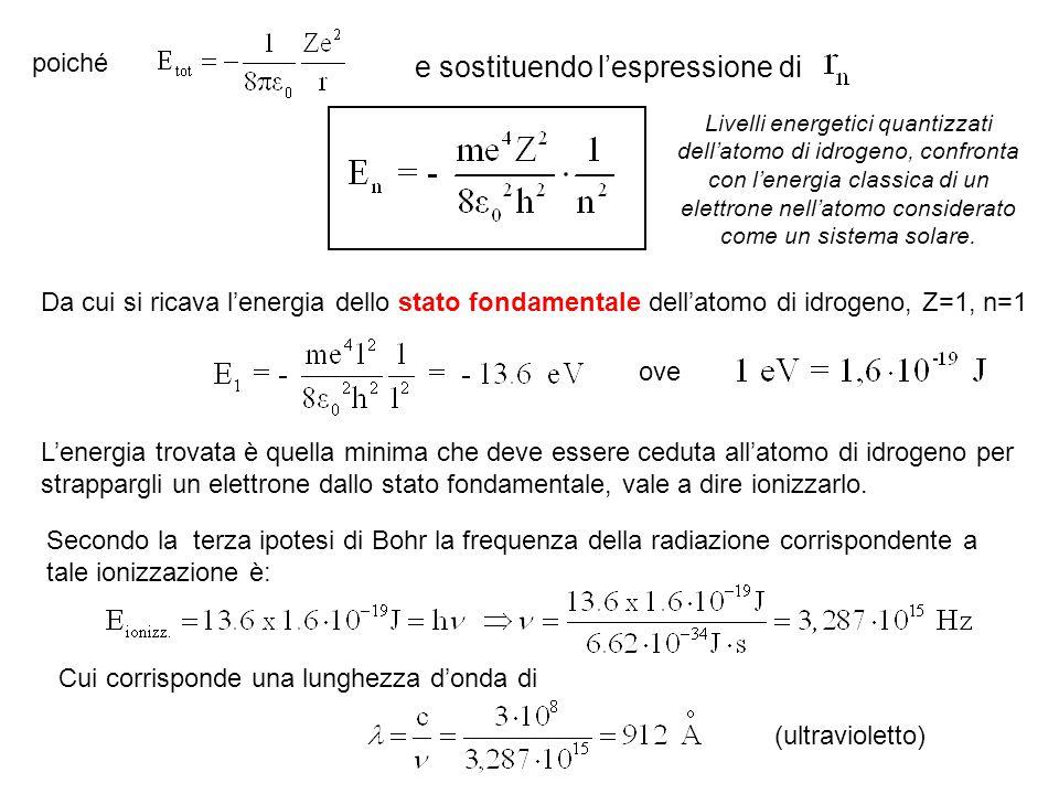 poiché e sostituendo l'espressione di Da cui si ricava l'energia dello stato fondamentale dell'atomo di idrogeno, Z=1, n=1 ove L'energia trovata è que