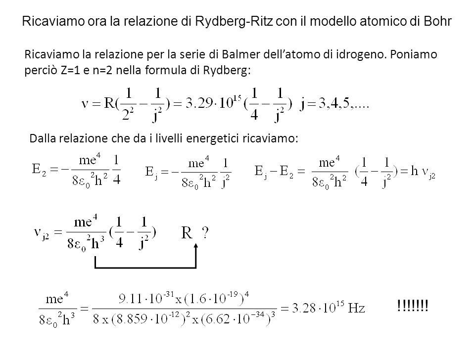 Ricaviamo ora la relazione di Rydberg-Ritz con il modello atomico di Bohr Ricaviamo la relazione per la serie di Balmer dell'atomo di idrogeno. Poniam
