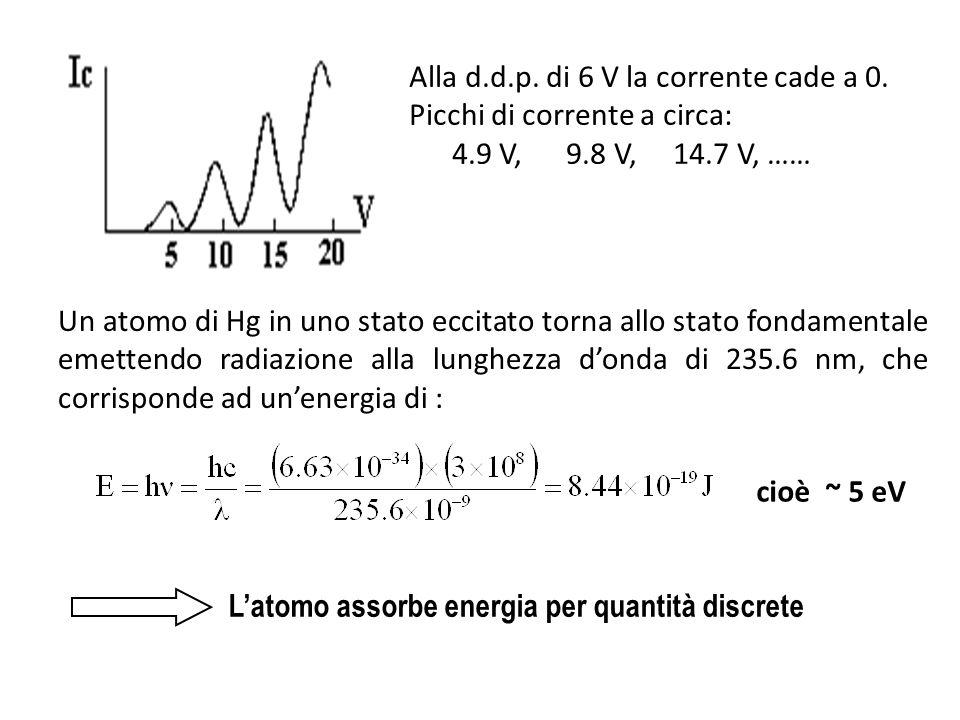 Alla d.d.p. di 6 V la corrente cade a 0. Picchi di corrente a circa: 4.9 V, 9.8 V, 14.7 V, …… Un atomo di Hg in uno stato eccitato torna allo stato fo