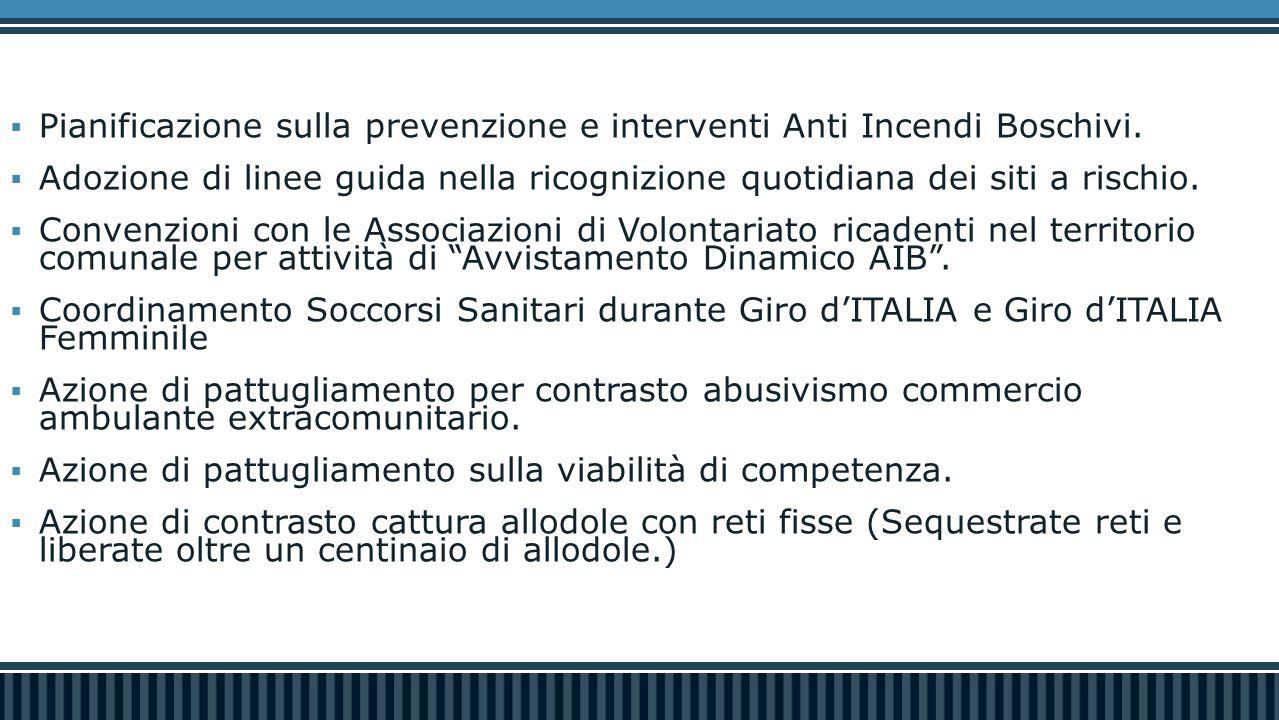  Pianificazione sulla prevenzione e interventi Anti Incendi Boschivi.