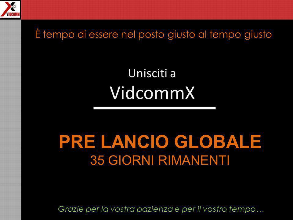 Unisciti a VidcommX PRE LANCIO GLOBALE 35 GIORNI RIMANENTI Grazie per la vostra pazienza e per il vostro tempo…