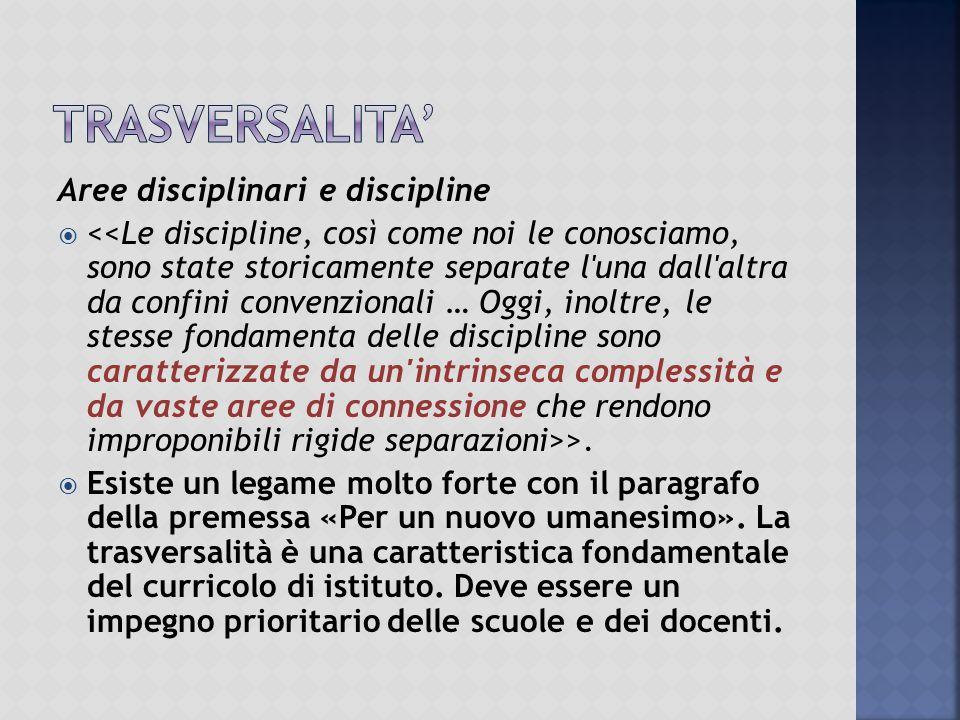Aree disciplinari e discipline  >.