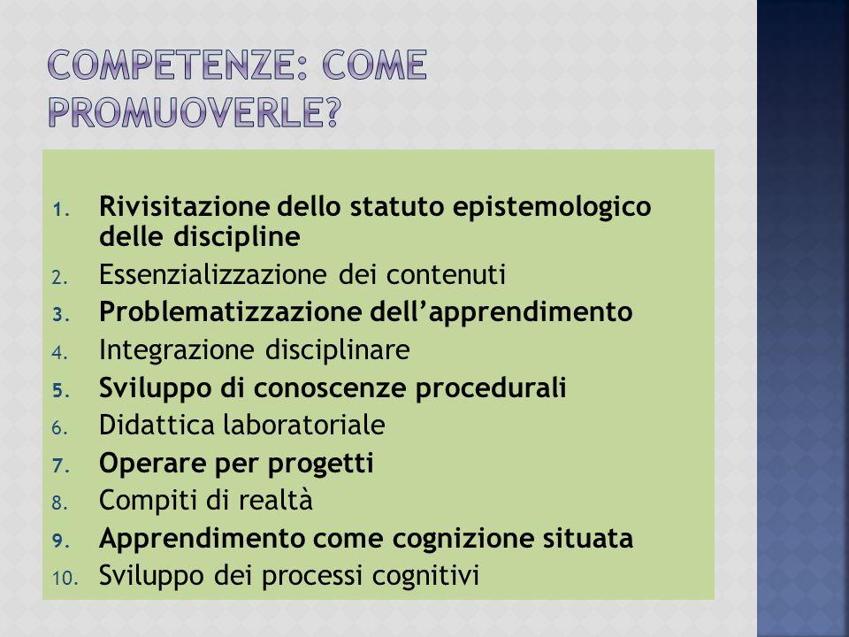1.Rivisitazione dello statuto epistemologico delle discipline 2.