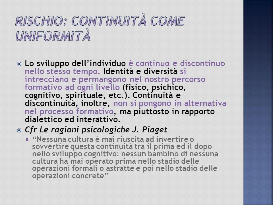  Lo sviluppo dell'individuo è continuo e discontinuo nello stesso tempo.