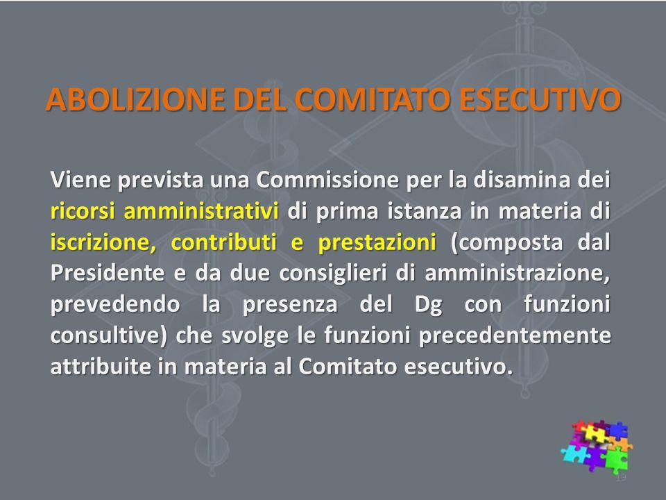ABOLIZIONE DEL COMITATO ESECUTIVO Viene prevista una Commissione per la disamina dei ricorsi amministrativi di prima istanza in materia di iscrizione,