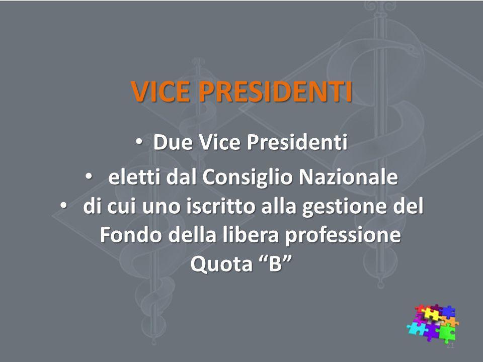 VICE PRESIDENTI Due Vice Presidenti Due Vice Presidenti eletti dal Consiglio Nazionale eletti dal Consiglio Nazionale di cui uno iscritto alla gestion