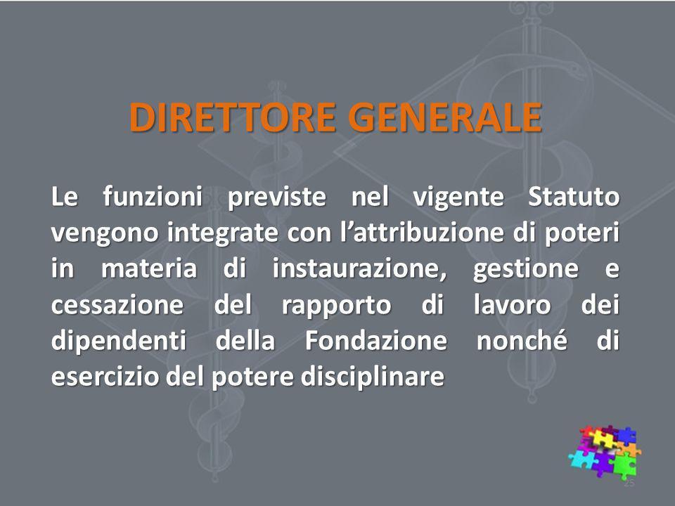 DIRETTORE GENERALE Le funzioni previste nel vigente Statuto vengono integrate con l'attribuzione di poteri in materia di instaurazione, gestione e ces