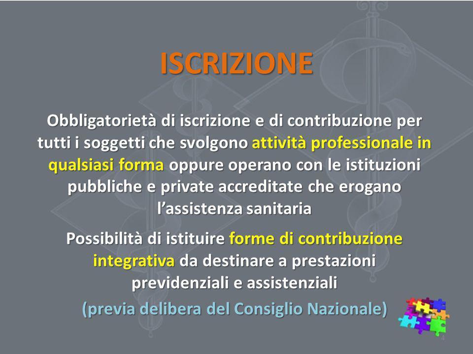 ISCRIZIONE Obbligatorietà di iscrizione e di contribuzione per tutti i soggetti che svolgono attività professionale in qualsiasi forma oppure operano