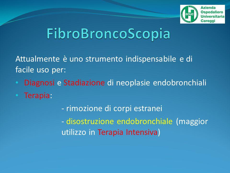 Attualmente è uno strumento indispensabile e di facile uso per: Diagnosi e Stadiazione di neoplasie endobronchiali Terapia: - rimozione di corpi estranei - disostruzione endobronchiale (maggior utilizzo in Terapia Intensiva)