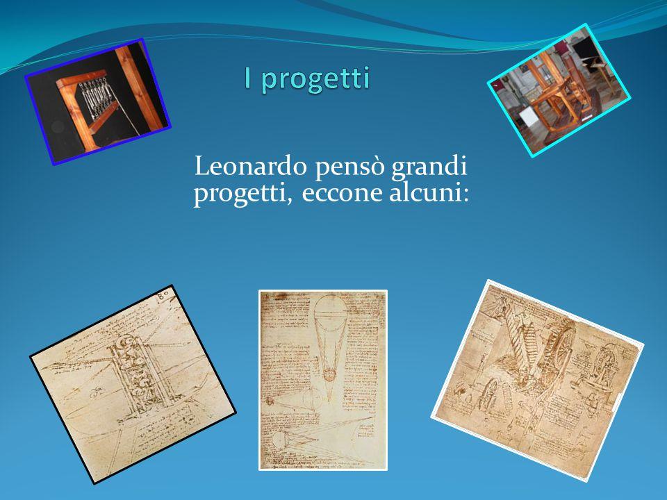 Leonardo pensò grandi progetti, eccone alcuni:
