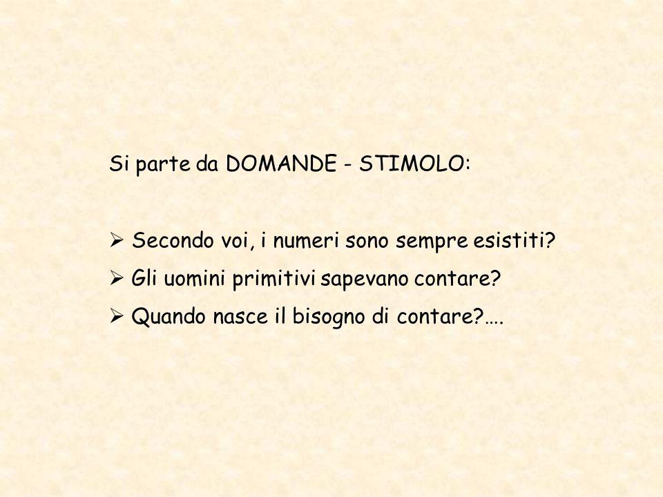 Si parte da DOMANDE - STIMOLO:  Secondo voi, i numeri sono sempre esistiti.