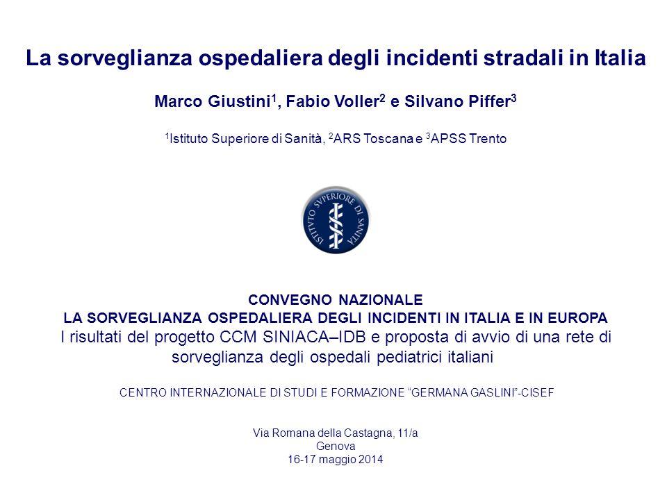 La sorveglianza ospedaliera degli incidenti stradali in Italia Marco Giustini 1, Fabio Voller 2 e Silvano Piffer 3 1 Istituto Superiore di Sanità, 2 A