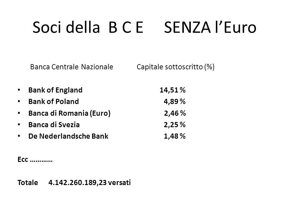Soci della B C E SENZA l'Euro Banca Centrale Nazionale Capitale sottoscritto (%) Bank of England 14,51 % Bank of Poland 4,89 % Banca di Romania (Euro)