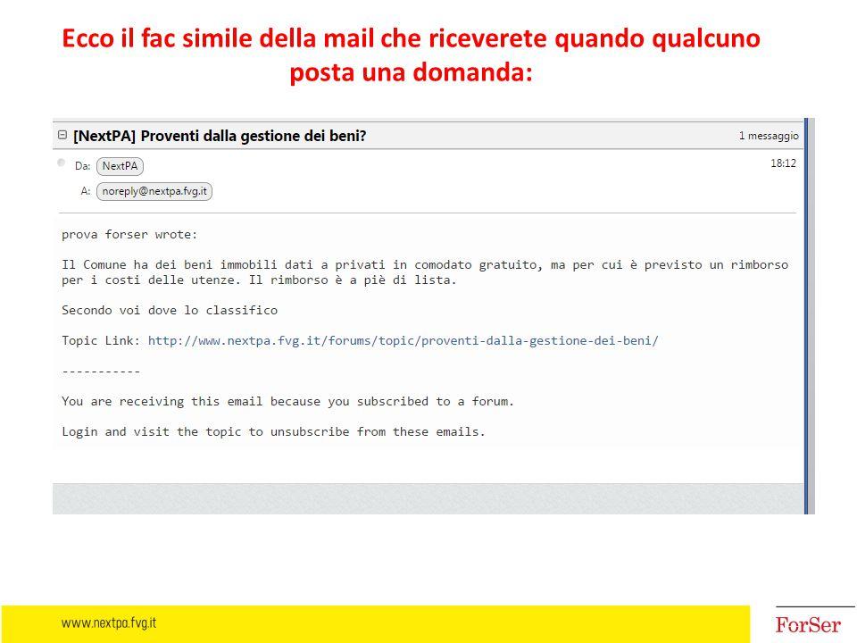 Ecco il fac simile della mail che riceverete quando qualcuno posta una domanda: