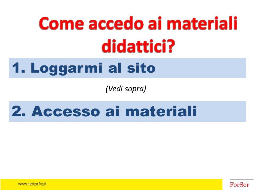 1. Loggarmi al sito 2. Accesso ai materiali (Vedi sopra)